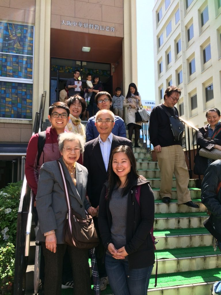 With 7 Yi-Ma and Tim's relatives outside the church after service