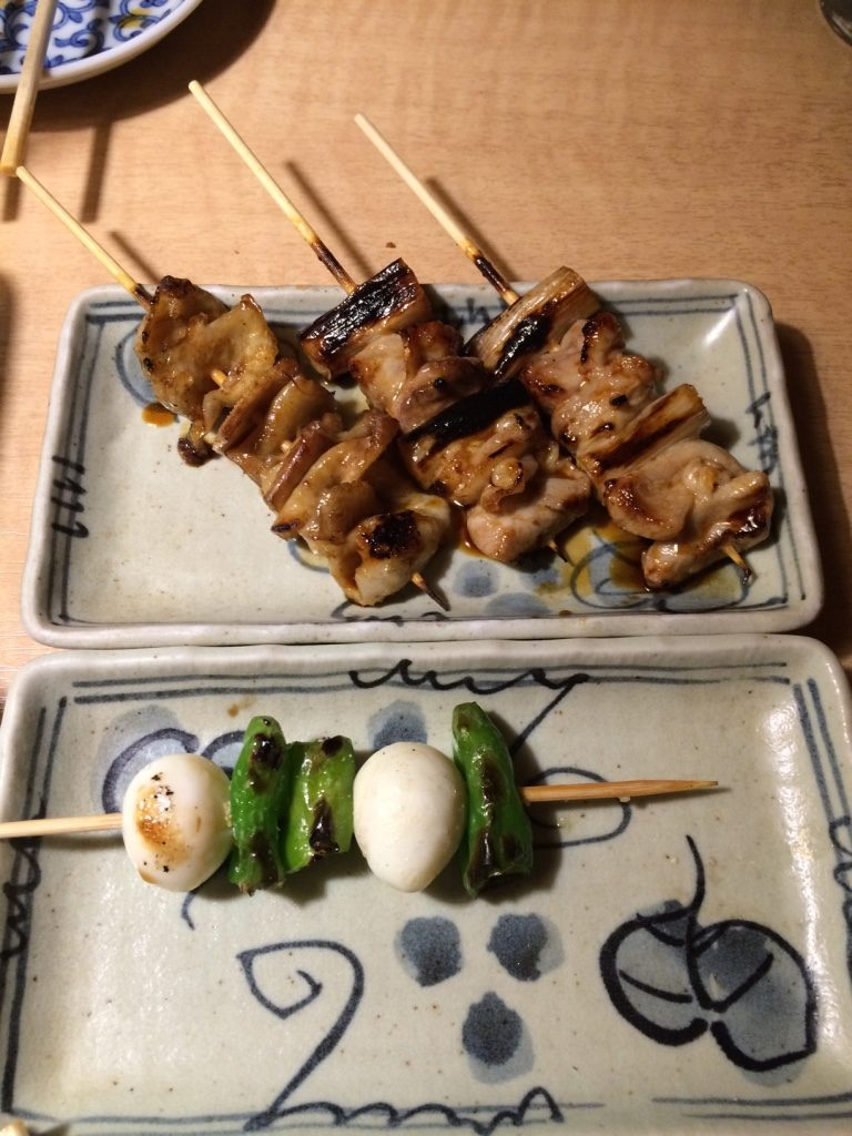 Our favourite the chicken yakitori. Super juicy and tender. (120 JPY = $1.40 CAD). I ordered two quail egg skewers for myself. It came in skewers of 3 eggs, I had already eaten one by the time I took this picture. (120 JPY = $1.40 CAD)