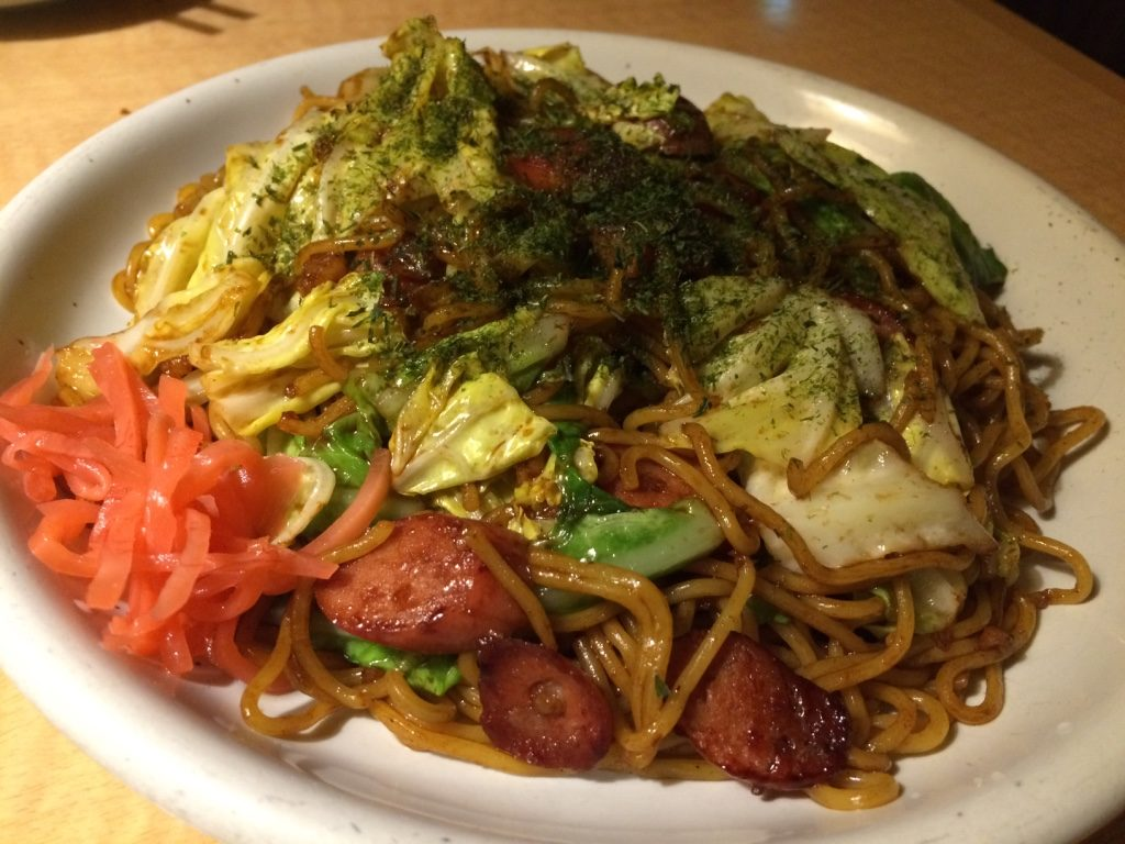 Yakisoba to end our meal. It was pretty large plate for 480 JPY = $5.50 CAD