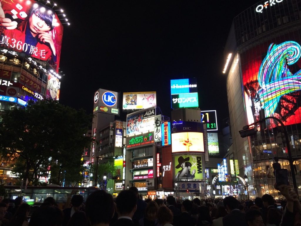 The famous Shibuya Crossing. Hoards of people crossing the street in all directions.