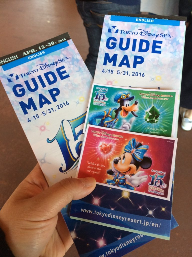 Our tickets and guide map of Disney Sea