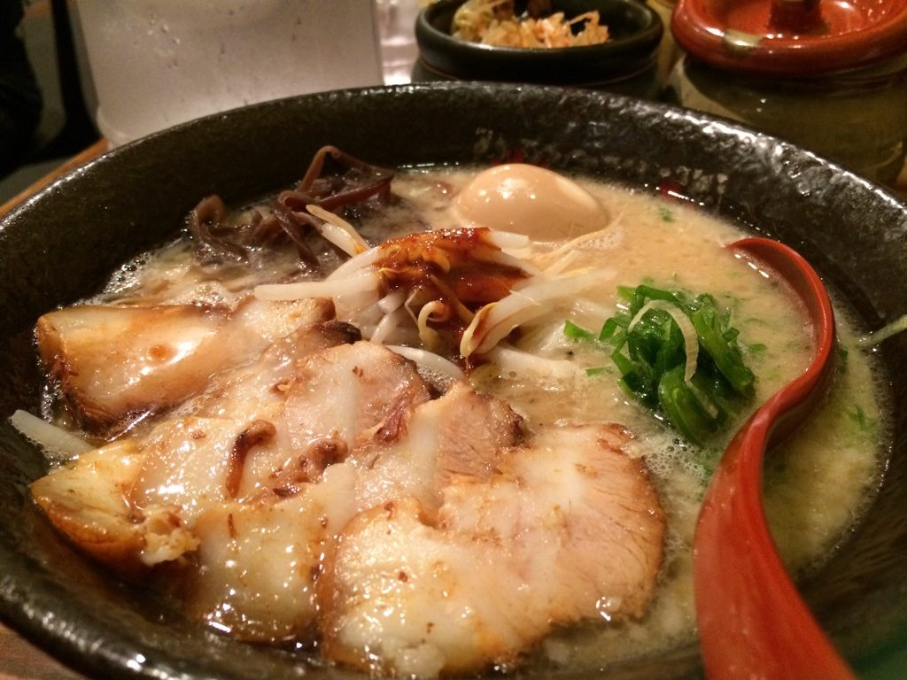 My bowl of Tonkotsu (black bowl). 840 JPY =