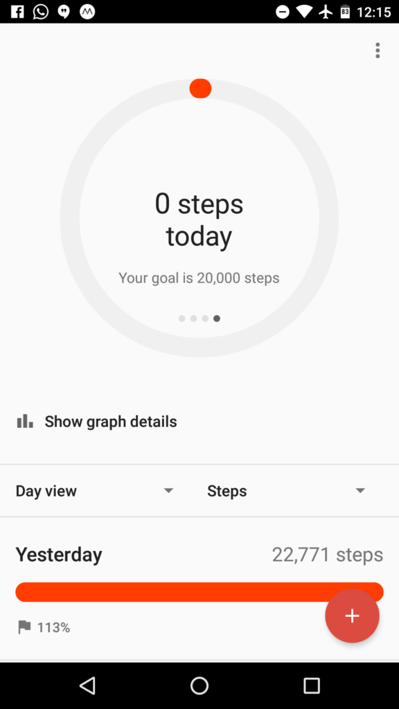 Main screen shows your activity for the day... 0 steps, because my phone has been idle all morning as I worked on this post.