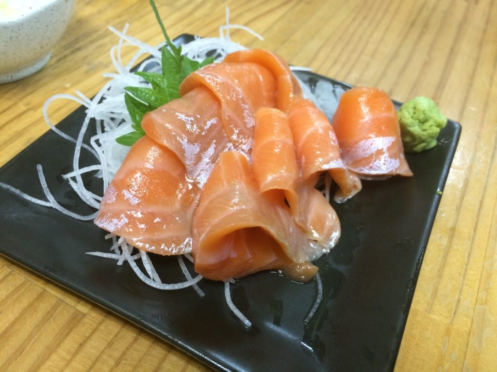 Fatty salmon sashimi. 8 pieces for 600 JPY = $7.15 CAD