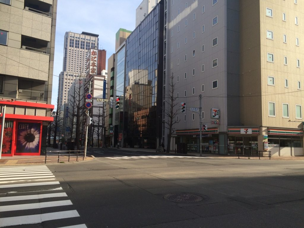 Empty Sapporo streets early Monday morning