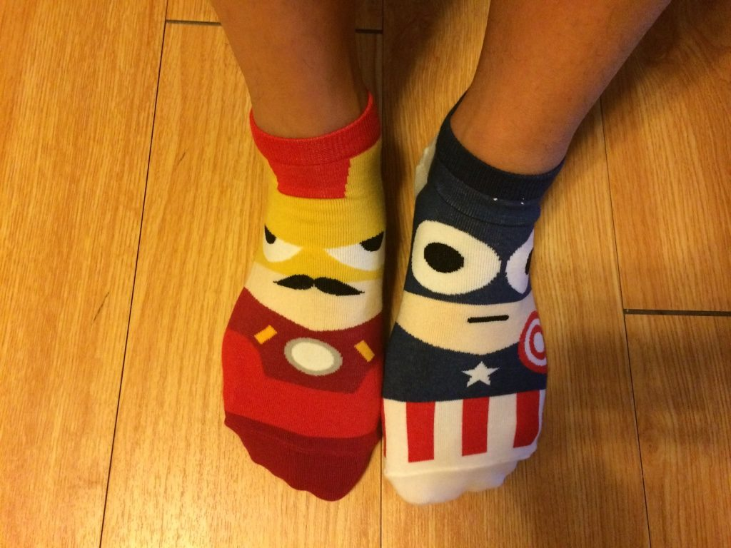 Tim wore his Korean socks for the movie (Ironman and Captain America)