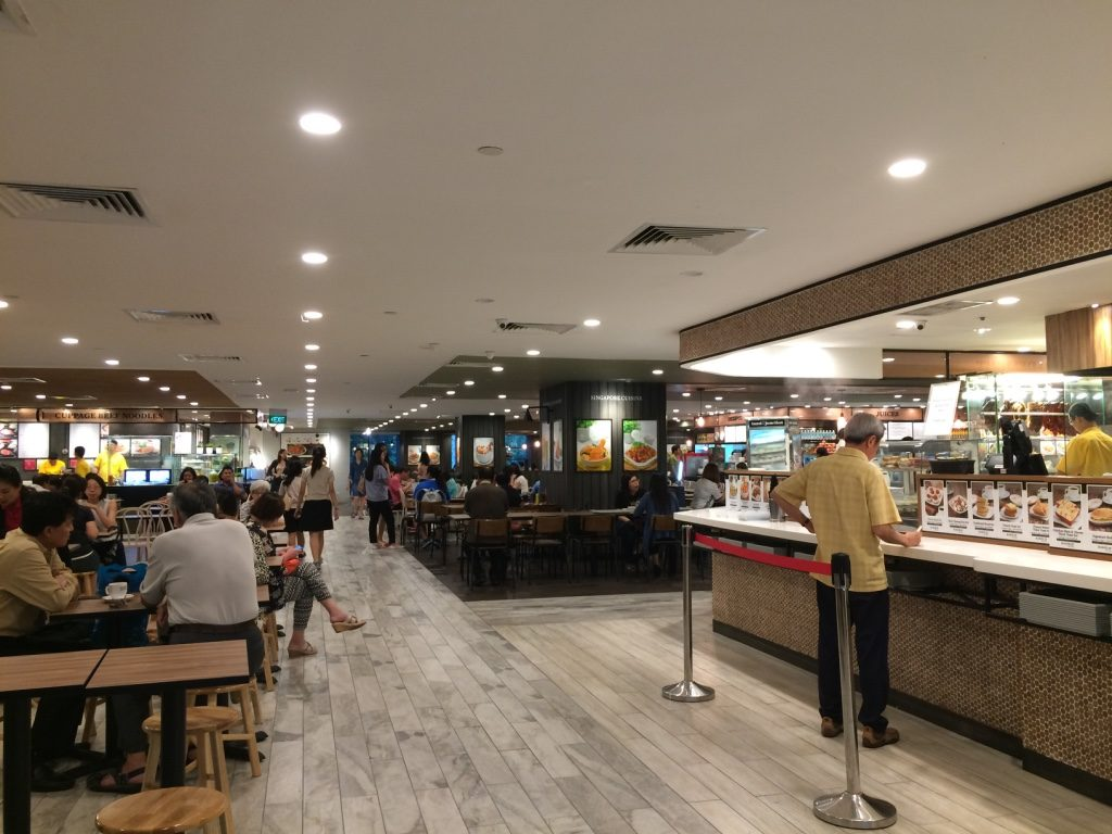 Inside the food court at Raffles City