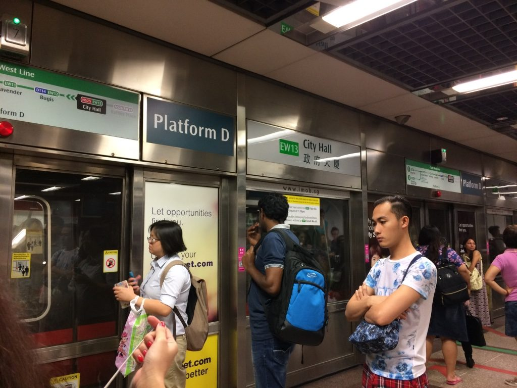 Waiting for the train to Changi Airport