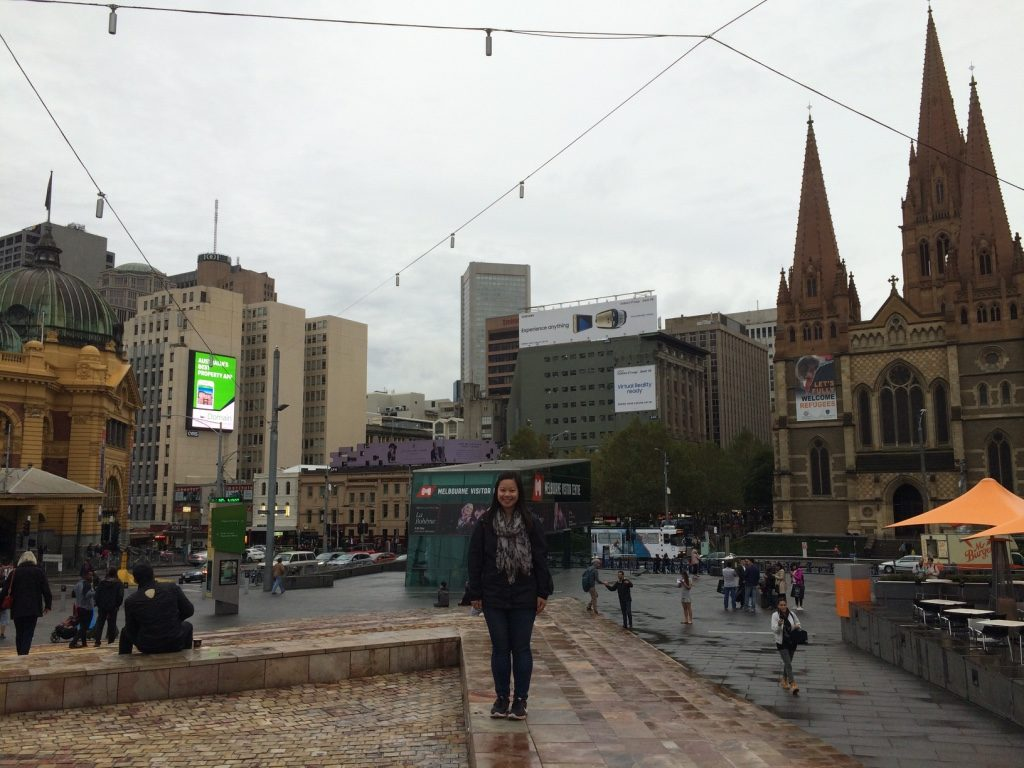 Federation Square with St. Paul's Cathedral in the background
