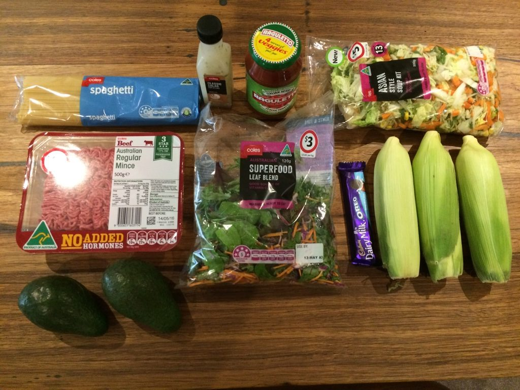 Our grocery haul. We spent $20 AUD for this.