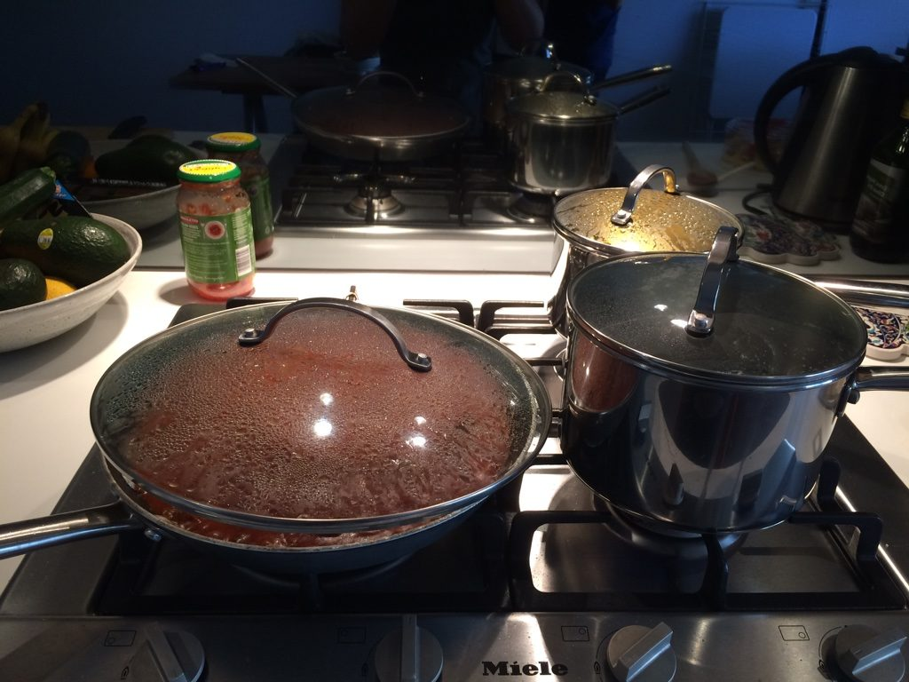 Simmering our bolognese sauce