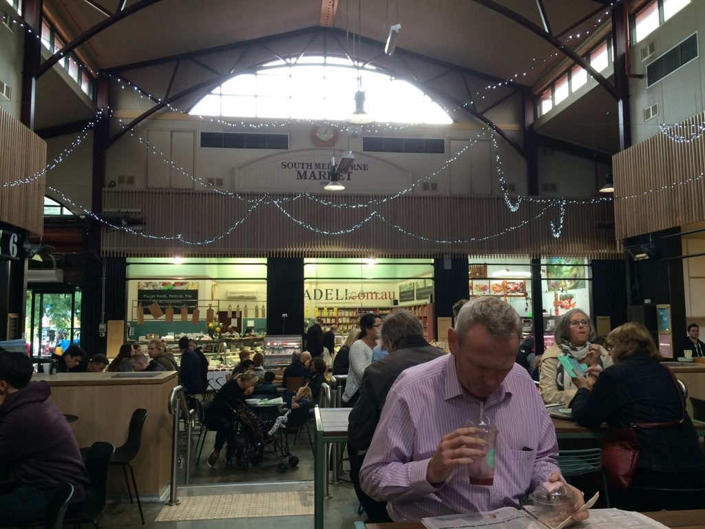 The food court area of South Melbourne Market