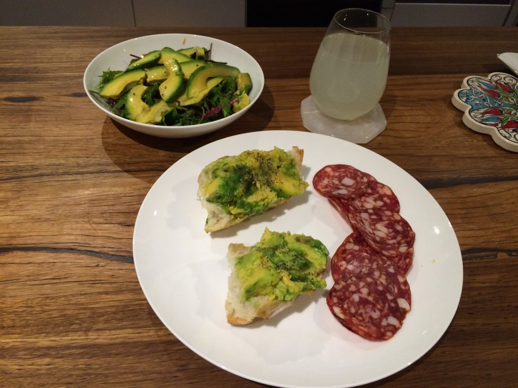 avocado salad, avocado toast and salami