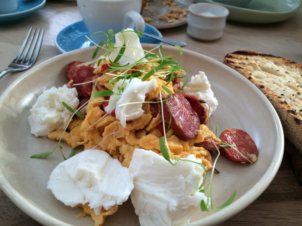 Chorizo, burrata and eggs (18 AUD = $16.95 CAD)