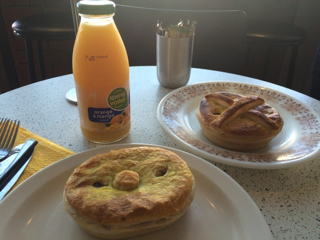 Our breakfast/lunch at OK Pie ($4.60 AUD = $4.33 CAD) and orange and mango juice ($3.50 AUD = $3.30 CAD)