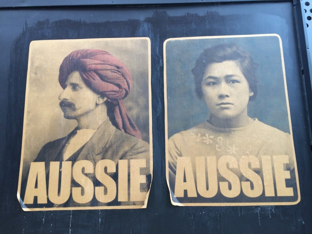 """We've seen these posters all over Melbourne and now in Adelaide that show ethnic minorities. Then we saw a separate said that says """"Real Aussies Welcome All"""""""