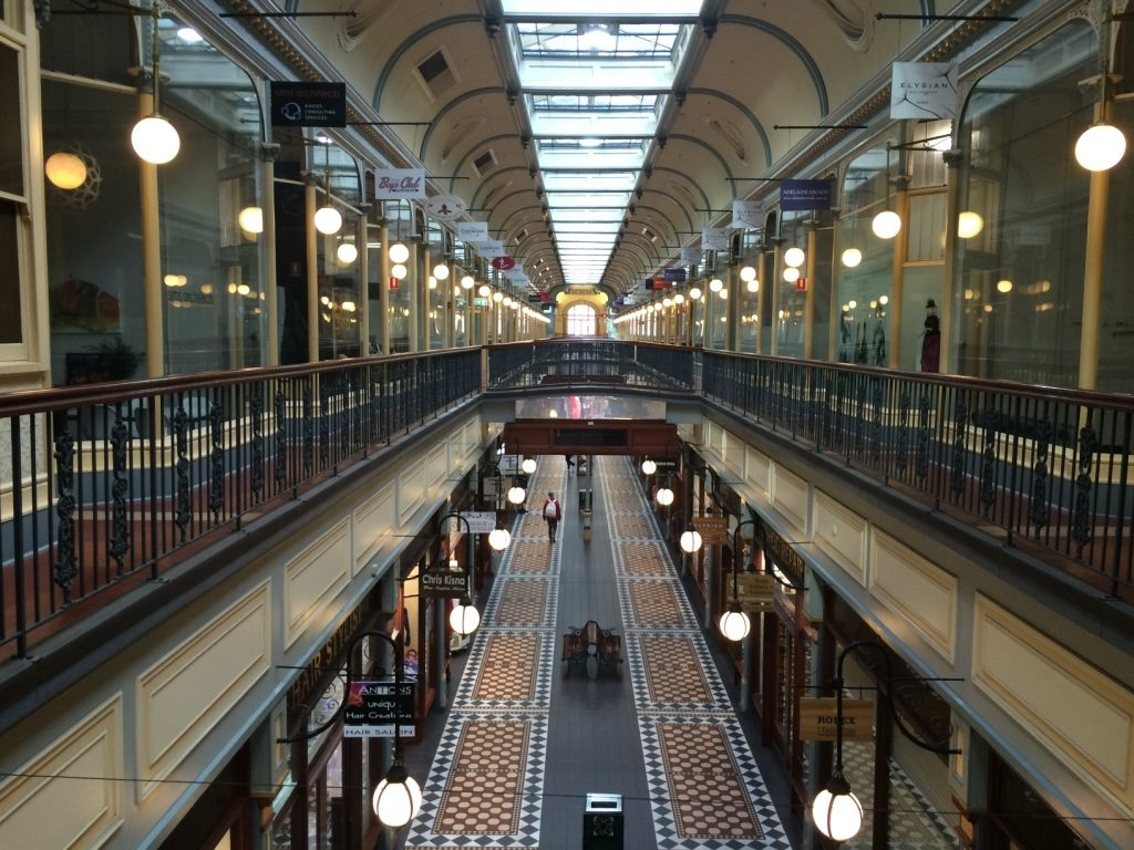 Inside Adelaide Arcade where we had lunch