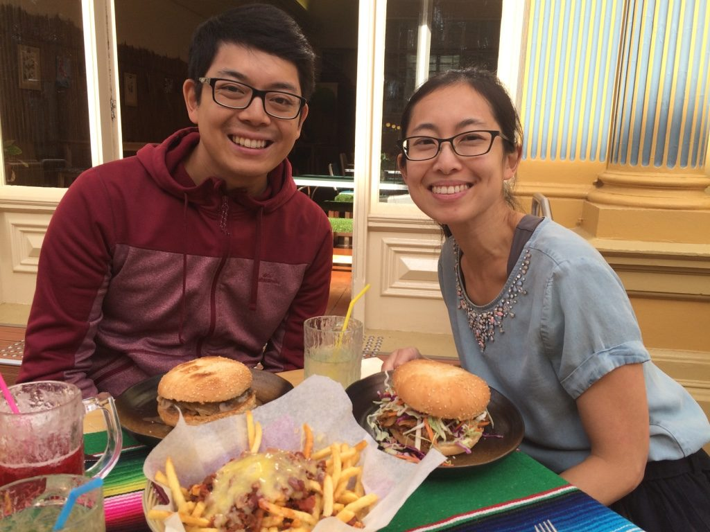 Tim & Jess with their burgers