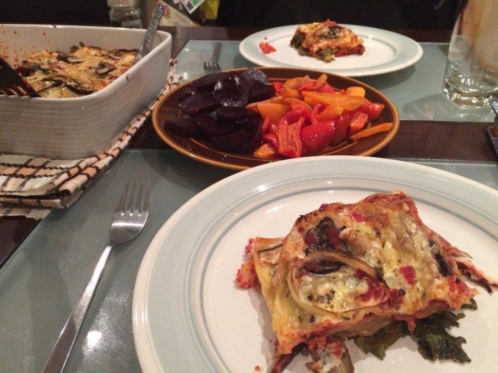 Veggie lasagna and roasted vegetables