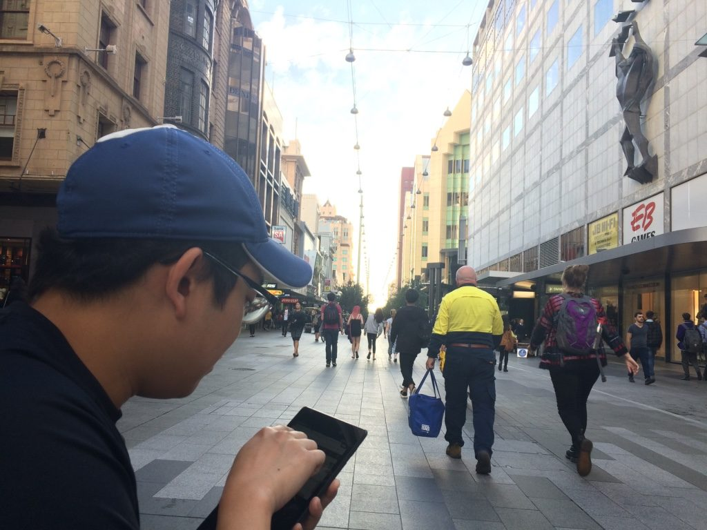 Tim getting his downloads in while at Rundle Mall