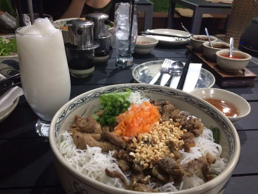 Custard apple smoothie ($4.50 AUD) and grilled pork vermicelli bowl ($12 AUD)