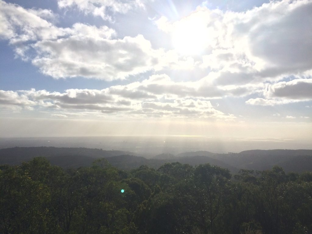 View from Mount Lofty through the haze