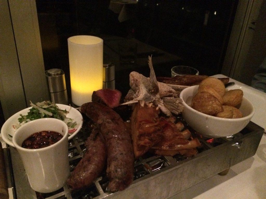Platter with pork & emu sausage, crocodile ribs, kangaroo steak, and lamb ($50 AUD pp)