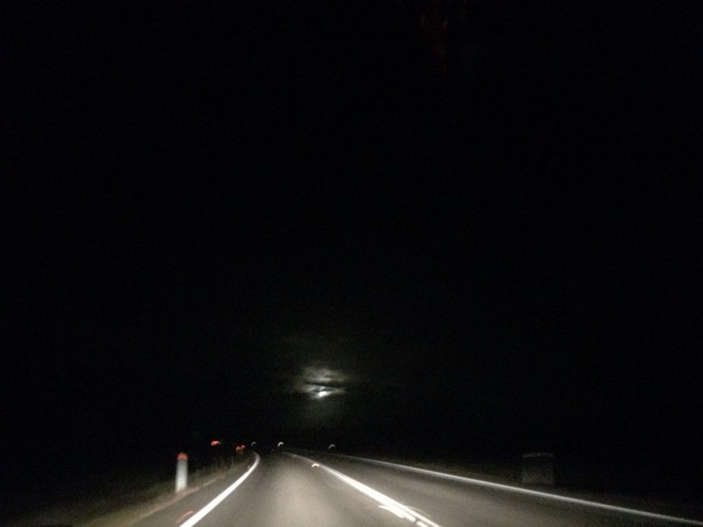 Full moon tonight. It was bright while we were driving. Would've been even brighter if there were no clouds.