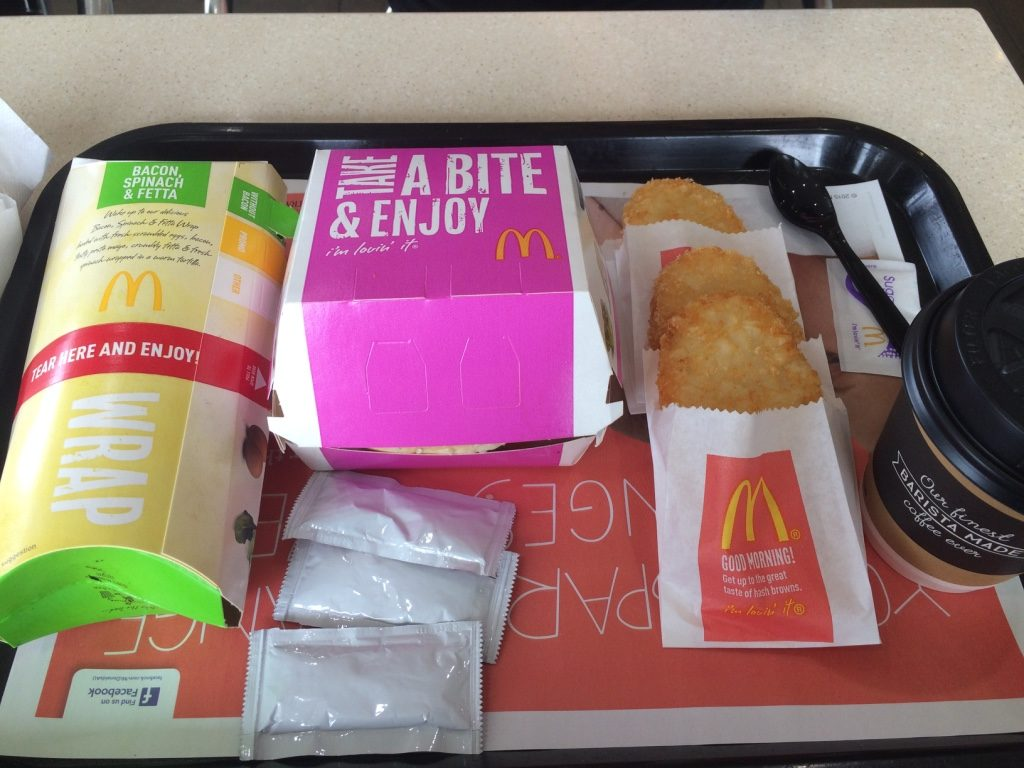 Our McDonald's breakfast feast. $15 AUD = $14.13 CAD