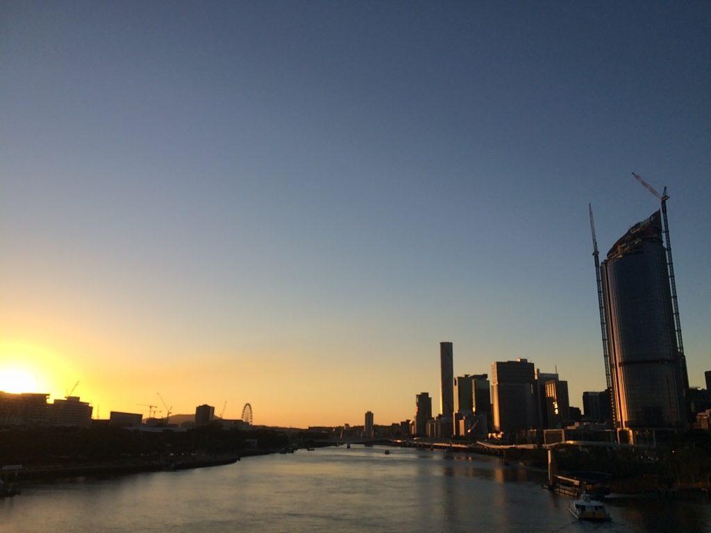 Sun was setting as we were crossing the pedestrian bridge