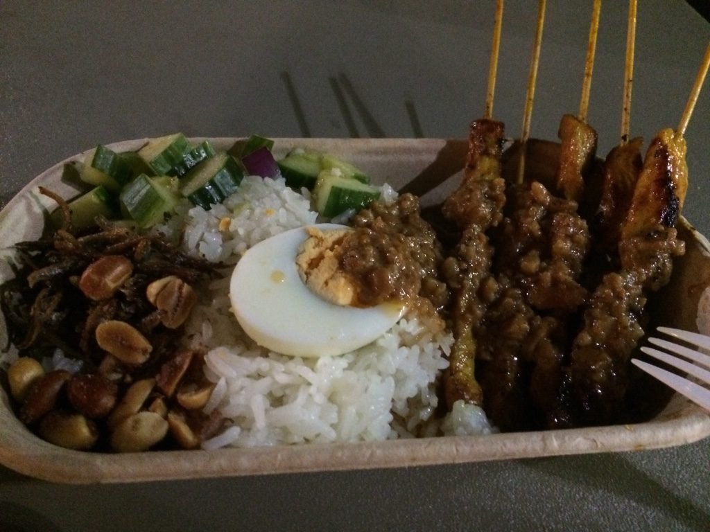Chicken satay with nasi lemuk ($10 AUD = $9.40 CAD)