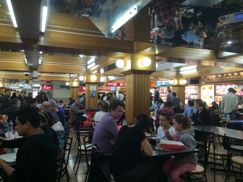 Dixon House Food Court. It was a lot busier down here than in the restaurants upstairs.