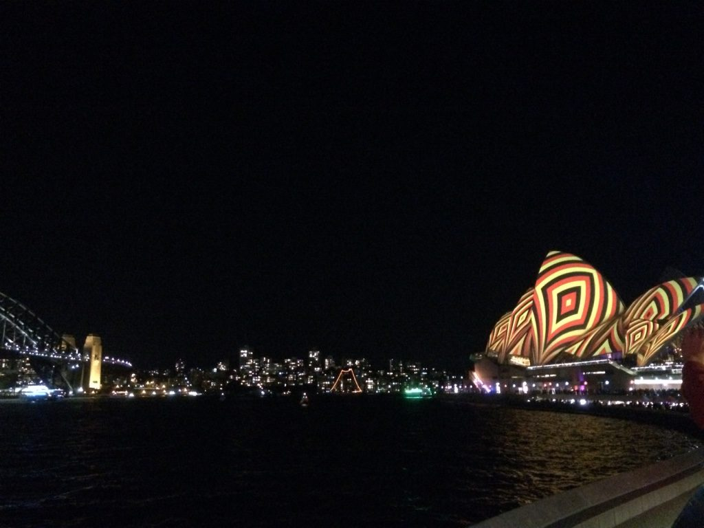 One of many projections on the Sydney Opera House