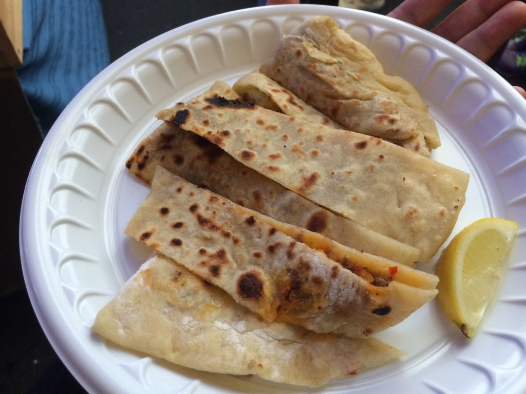 My lamb gozleme. I don't usually like lamb but since we're in New Zealand. Was like a lamb quesadilla. $10 NZD = $8.72 CAD