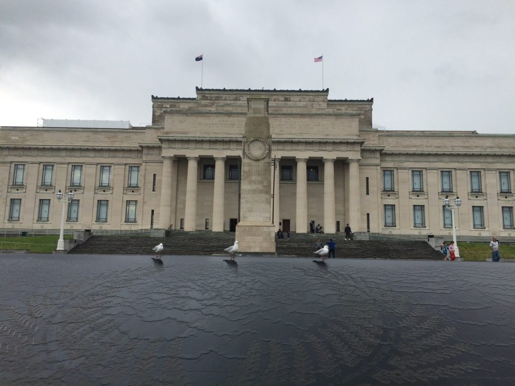Front entrance of the Auckland War Memorial Museum (there's an American flag for Memorial Day ceremonies going on inside)