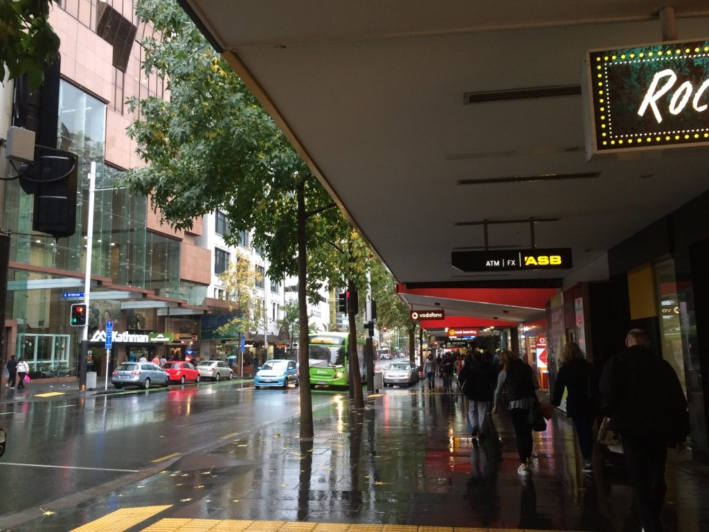 Queen St. is Auckland's main shopping area. Luckily it's mostly covered.
