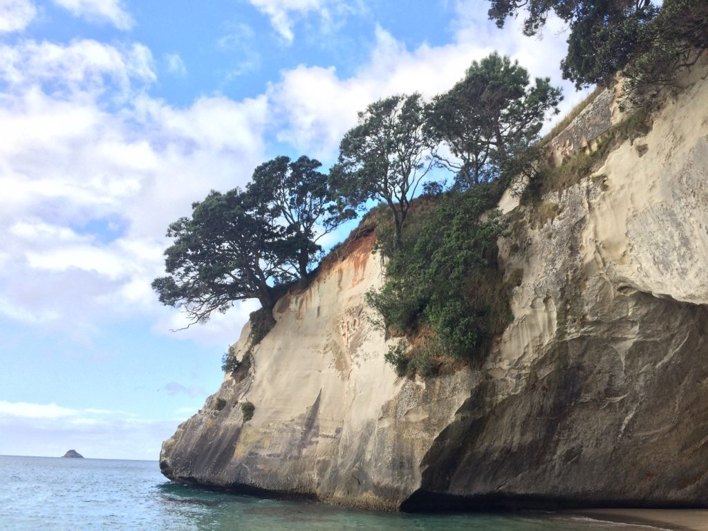 At Cathedral Cove beach