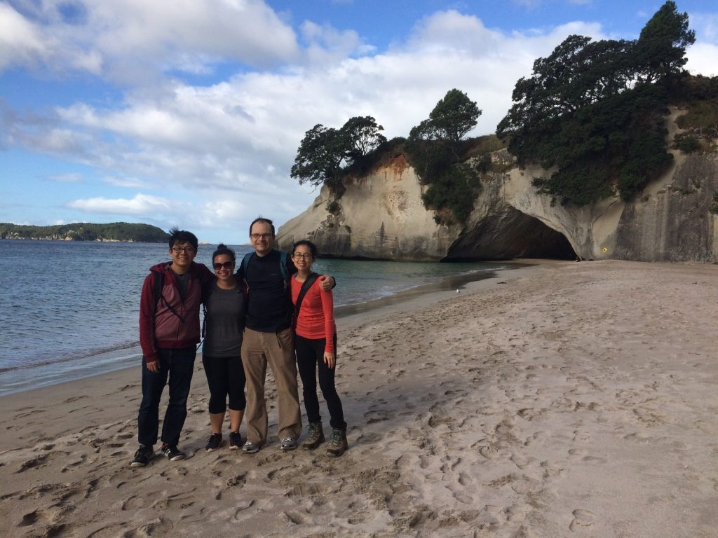 The four of us with the Cathedral Cove in the background