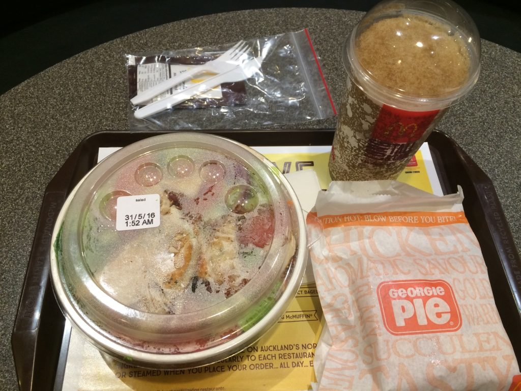 First time ordering salad at McDonald's, a grilled chicken at that ($10.50 NZD = $9.18 CAD) and butter chicken pie ($4.50 NZD = $3.90 CAD)
