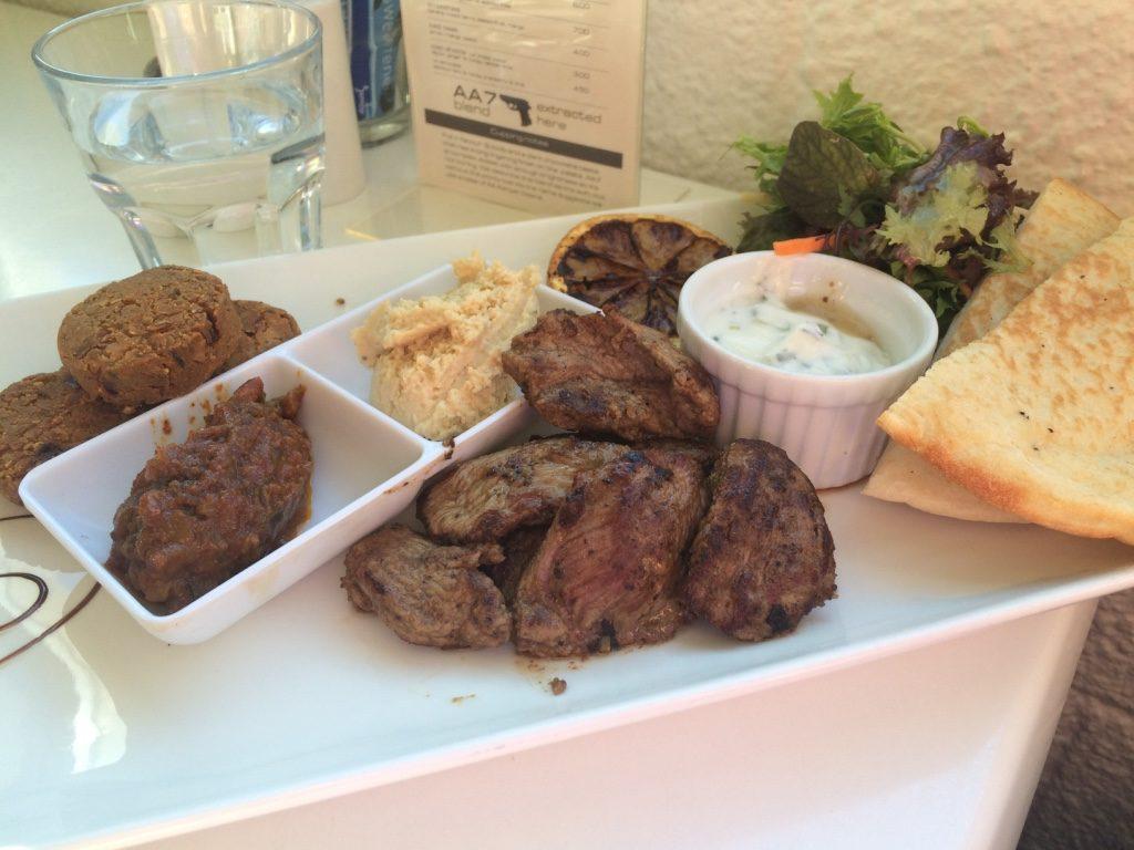 Lamb Platter: falafels, hummus, mint yogurt, sliced lamb, pita and salad ($18.50 NZD = $16.25 CAD)