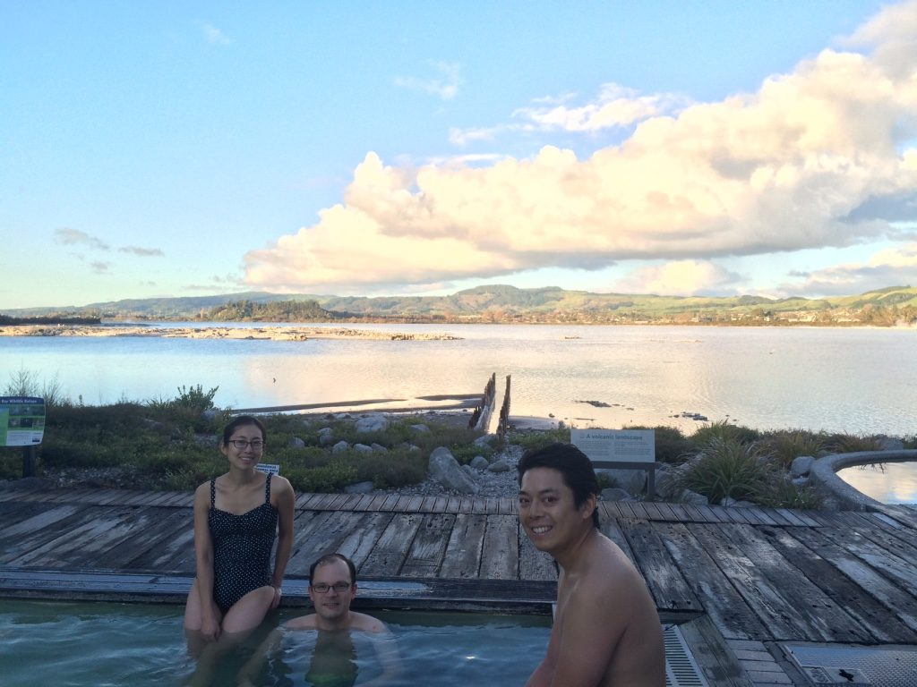 """Hanging out in the """"Priest Spa"""", named after a Catholic priest who had chronic arthritis and he bathed in these hot springs and was cured."""