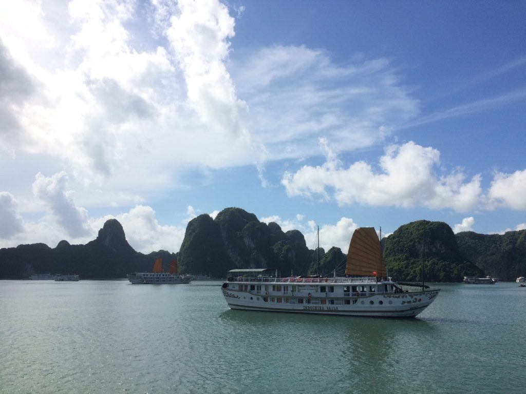 Boats docked in Halong Bay