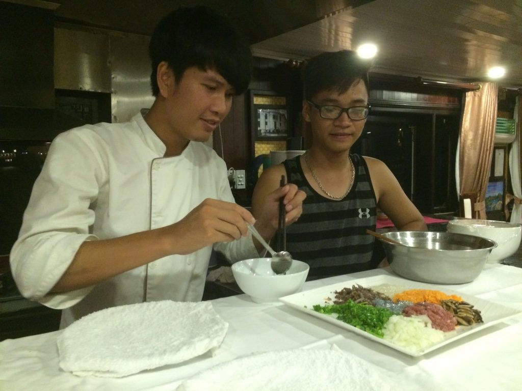 Our chef and Chris show us how to make deep fried spring rolls