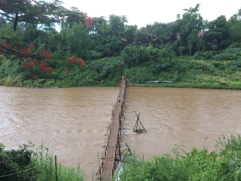 Bamboo bridge crossing the river
