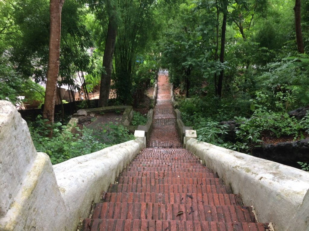 The first steeper steps of stairs