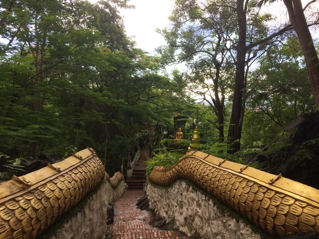 Buddhist shines all the way to the top of the mountain