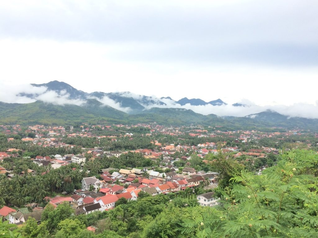 360 views of Luang Prabang from the summit. It looked nice with the low clouds