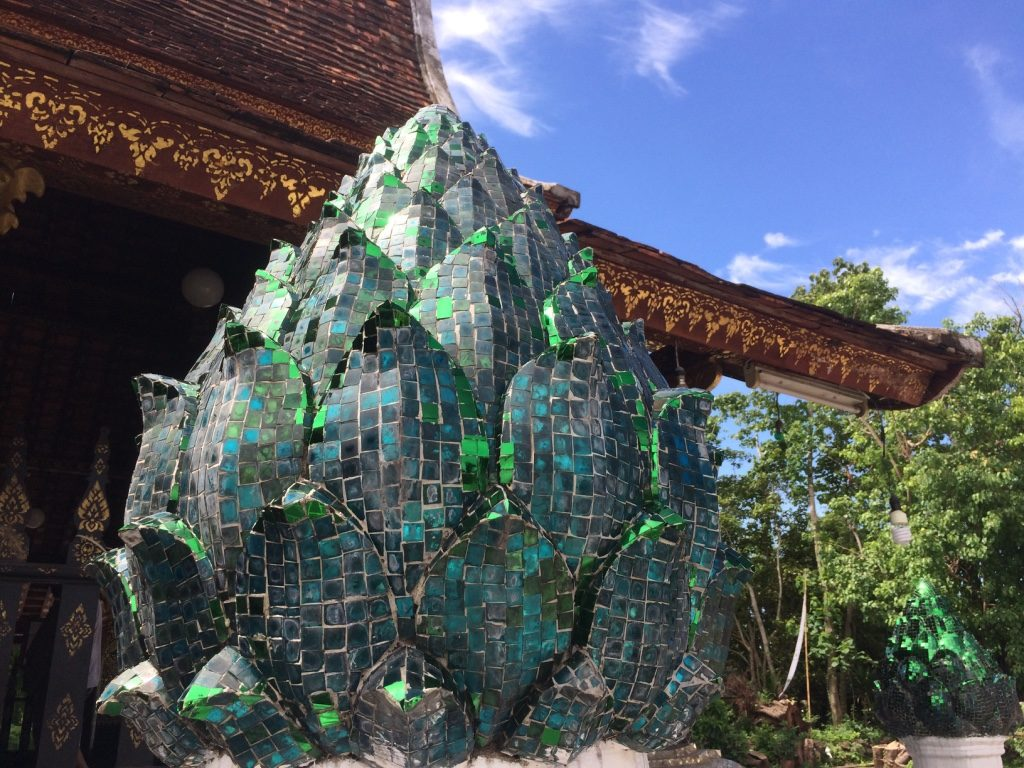 There were a lot of fragmented glass surrounding the temples