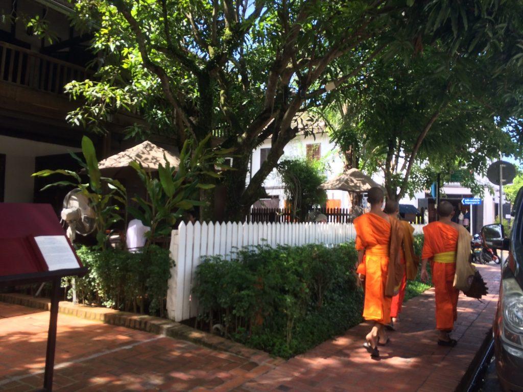 Monks walking down the main street.