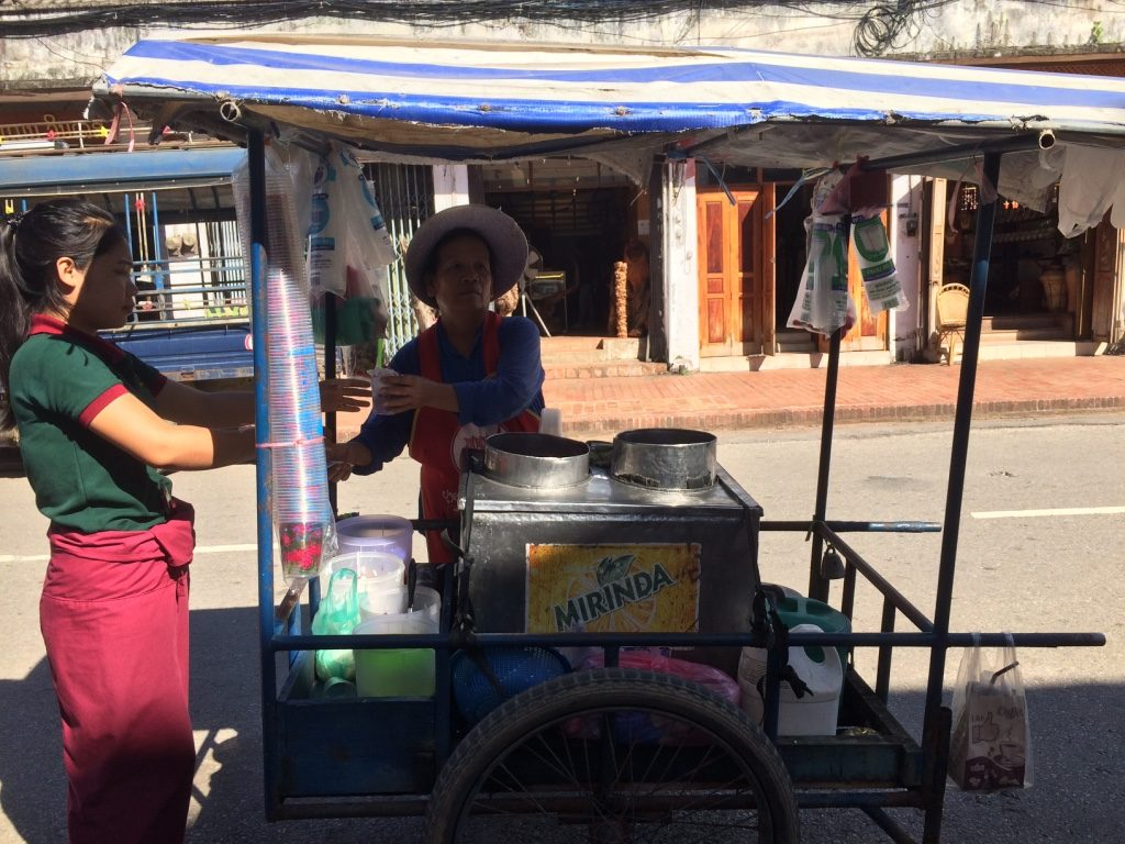 Ice cream lady making her rounds down the main street